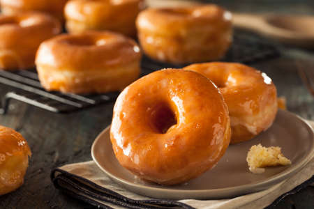 Homemade Round Glazed Donuts Ready to Eat