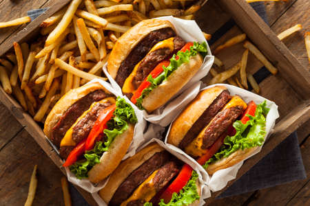 cheeseburgers: Double Cheeseburgers and French Fries in a Tray