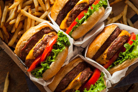 cheeseburger: Double Cheeseburgers and French Fries in a Tray