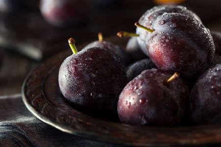 ciruela pasa: Maduro Orgánico Púrpura Pode Ciruelas Listo para comer Foto de archivo