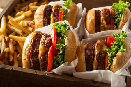 alimentos y bebidas: Double Cheeseburgers and French Fries in a Tray