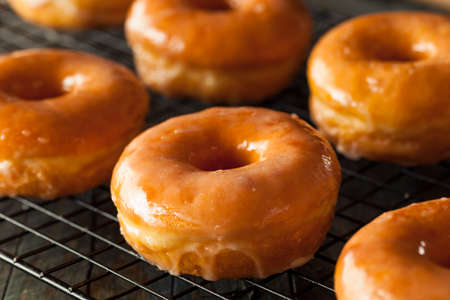 donut: Homemade Round Glazed Donuts Ready to Eat