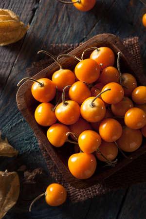 gooseberries: Orange Organic Cape Gooseberries in a Bowl