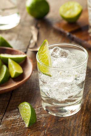 Alkoholische Gin Tonic mit Kalk Garnitur Standard-Bild