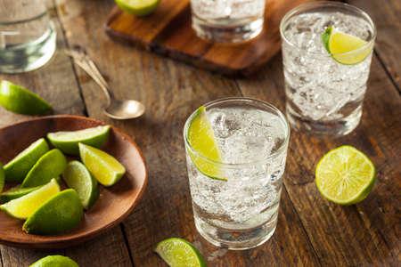 soda splash: Alcoholic Gin and Tonic with a Lime Garnish