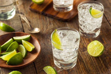 Alcoholische gin-tonic met een limoen garnituur