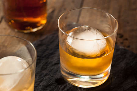 bourbon: Bourbon Whiskey with a Sphere Ice Cube Ready to Drink