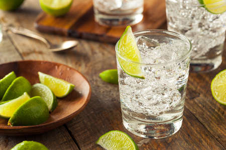 vodka: Alcoholic Gin and Tonic with a Lime Garnish