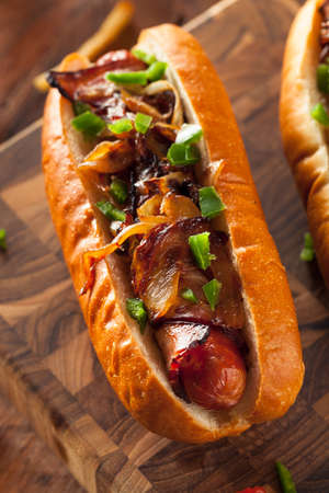 hot dogs: Homemade Bacon Wrapped Hot Dogs with Onions and Peppers