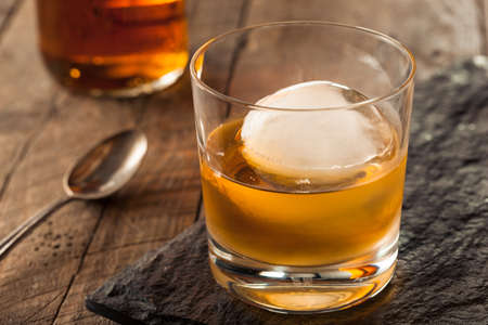 cocktails: Bourbon Whiskey with a Sphere Ice Cube Ready to Drink