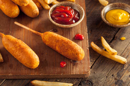 wiener dog: Homemade Organic Corn Dogs with Fries and Ketchup