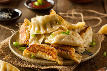 potstickers: Homemade Asian Pork Potstickers with Soy Sauce