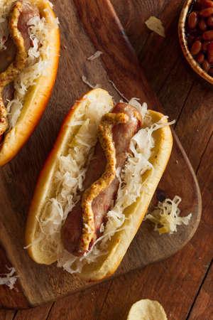 bratwurst: Beer Bratwurst with Sauerkraut and Spicy Mustard