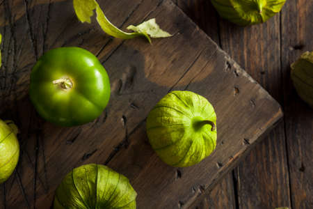 husk tomato: Healthy Organic Green Tomatillos Ready to Eat