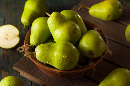Green Organic Bartlett Pears in a Bowl