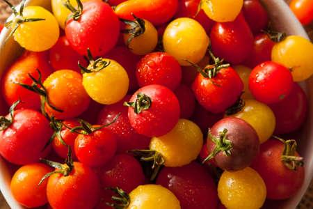 Organic Heirloom Cherry Tomatos in a Bowl Stock Photo