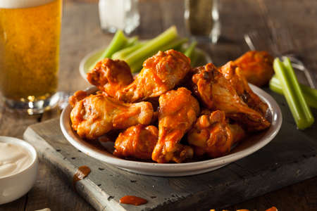 buffalo: Spicy Homemade Buffalo Wings with Dip and Beer