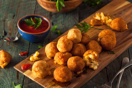 melted cheese: Fried Mac and Cheese Bites with Dipping Sauce