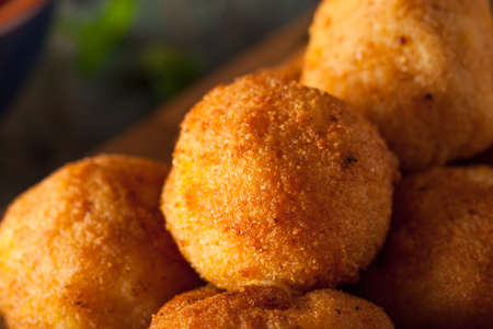 fried food: Fried Mac and Cheese Bites with Dipping Sauce