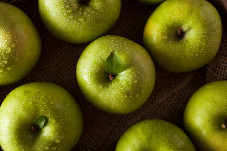 grannies: Organic Green Granny Smith Apple Ready to Eat Stock Photo