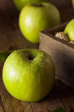 granny smith: Organic Green Granny Smith Apple Ready to Eat Stock Photo