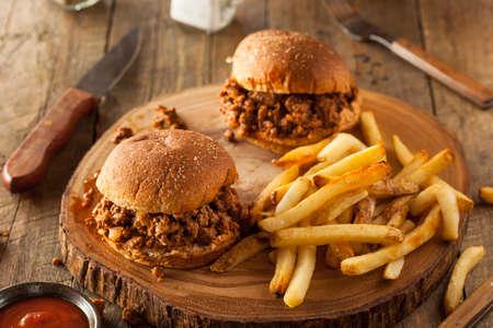 Homemade BBQ Sloppy Joe Sandwiches with Fries Stock Photo - 44737942