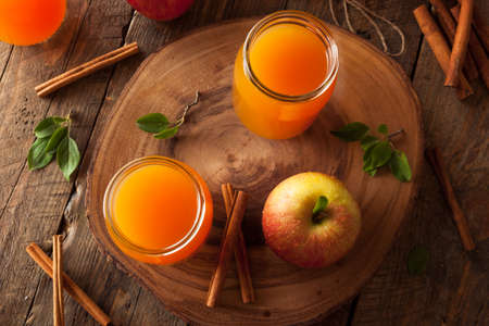 Organic Orange Apple Cider with Cinnamon and Spices Stock Photo
