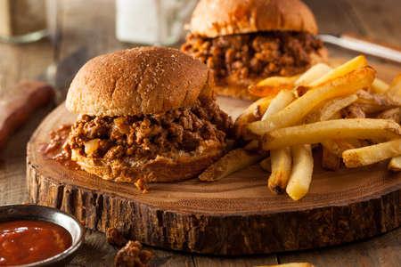 sliders: Homemade BBQ Sloppy Joe Sandwiches with Fries