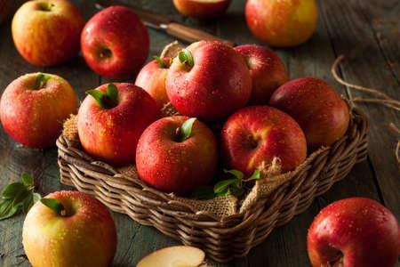 manzanas: Primas Manzanas Fuji rojo en una cesta Foto de archivo