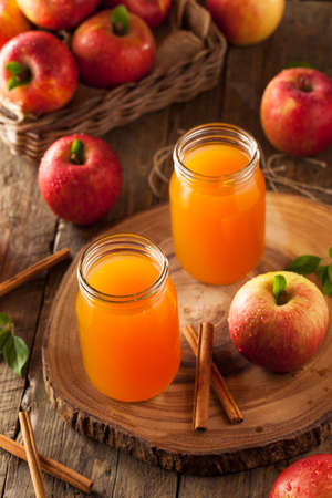 autumn food: Organic Orange Apple Cider with Cinnamon and Spices Stock Photo