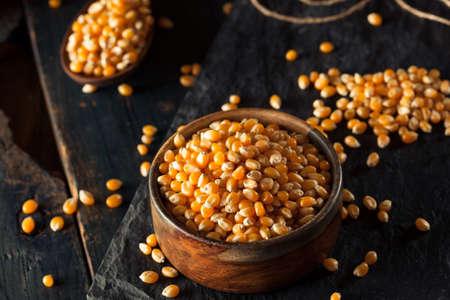 popcorn: Crudo Org�nico Palomitas amarillo en un taz�n de fuente