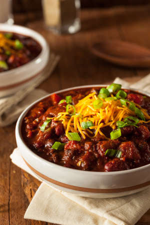 chilies: Homemade Organic Vegetarian Chili with Beans and Cheese