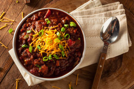 red chili pepper: Homemade Organic Vegetarian Chili with Beans and Cheese