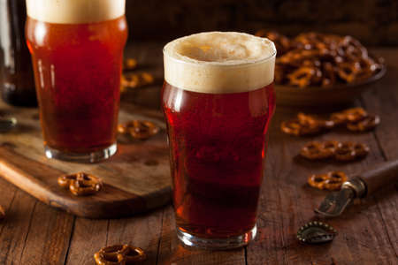 stein: Fresh Brewed Oktoberfest Autumn Ale in a Pint Glass