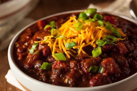chili sauce: Homemade Organic Vegetarian Chili with Beans and Cheese