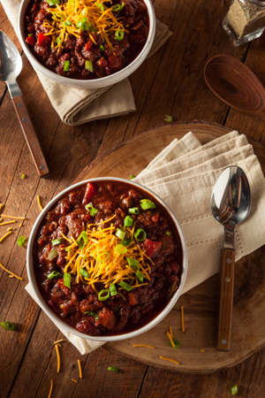meat soup: Homemade Organic Vegetarian Chili with Beans and Cheese