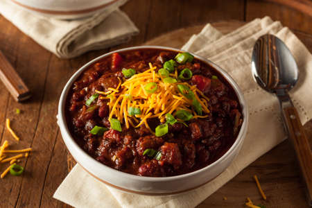 Homemade Organic Vegetarian Chili with Beans and Cheese Banco de Imagens - 44688629