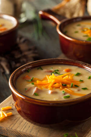 Homemade Beer Cheese Soup with Chives and Bread Banque d'images