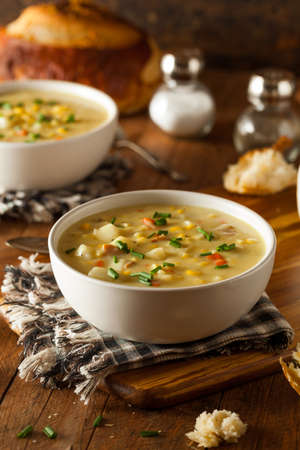 Hot Homemade Corn Chowder in a Bowl Stock Photo