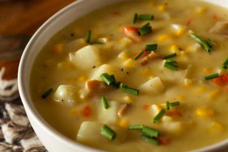 mazorca de maiz: Hot Homemade maíz sopa en un tazón de fuente Foto de archivo