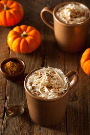 Homemade Pumpkin Spice Latte with Cream and Cinnamon Stock Photo