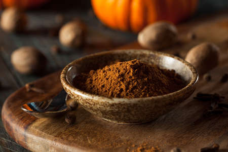 Organic Raw Pumpkin Spice with Cinnamon Allspice Nutmeg and Ginger Banco de Imagens