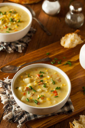 vegetable soup: Hot Homemade Corn Chowder in a Bowl Stock Photo