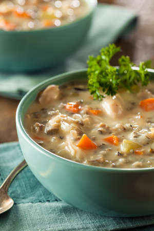 wild rice: Homemade Wild Rice and Chicken Soup in a Bowl
