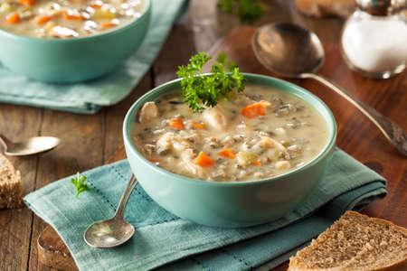 그릇에 만든 야생 쌀과 닭고기 수프 스톡 콘텐츠