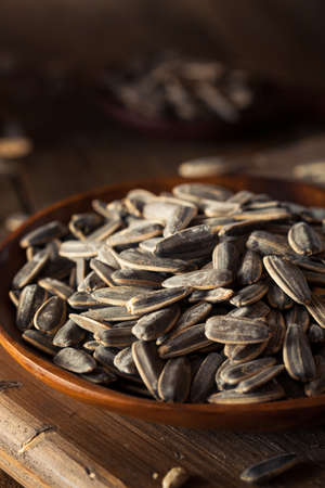 sunflower seeds: Organic Salted and Roasted Sunflower Seeds Ready to Eat Stock Photo