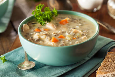 meat soup: Homemade Wild Rice and Chicken Soup in a Bowl