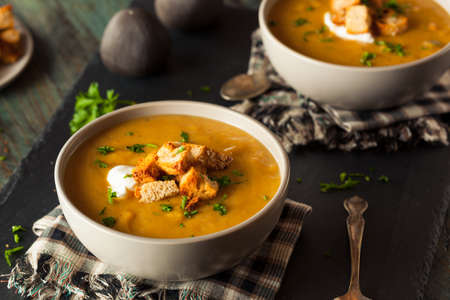 butternut squash: Homemade Hot Butternut Squash Soup with Toppings