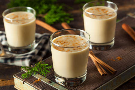 eggnog: Cold Refreshing Eggnog Drink for the Holidays Stock Photo