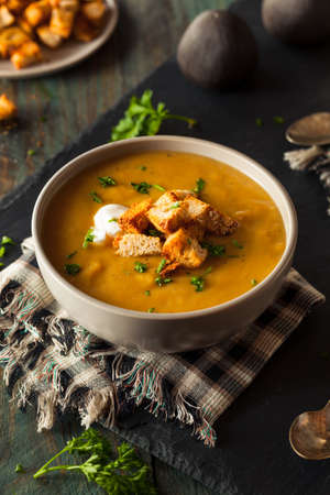 butternut: Homemade Hot Butternut Squash Soup with Toppings
